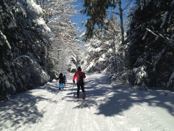 Cross-country skiers of all ages enjoy the unsurpassedly beautiful skiing on Acadia's carriage roads.