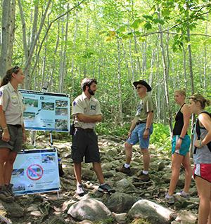 Ridge Runners teach LNT principles to hikers in Acadia