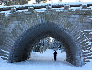 Cross-country skier passing under the Eagle Lake Bridge