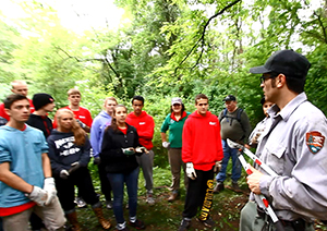 The exotic plant management team, led by Frank Archuleta (on right), worked with several volunteer groups to remove a 2-acre infestation of bush honeysuckle in acadia.