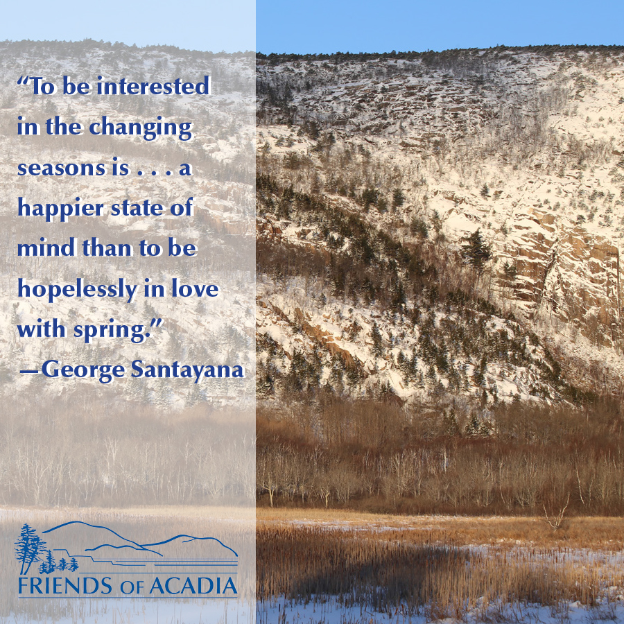 """To be interested in the changing seasons is . . . a happier state of mind than to be hopelessly in love with spring."" —George Santayana"