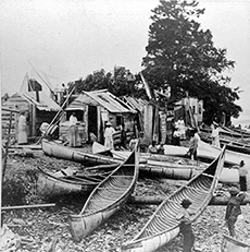Indian encampment in Bar Harbor, 1881. Stereoview by Kilburn Brothers.