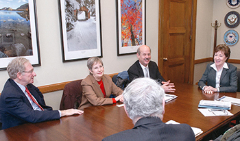 (Left to right) Ralph and Susan Nurnberger converse with Acadia Superintendent Sheridan Steele, Maine Senator Susan Collins, and (foreground) FOA chairman Ed Samek during a recent FOA advocacy visit to Capitol Hill. Credit: The office of Senator Susan Collins