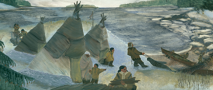 An artist's reconstruction of a Wabanaki encampment on the coast of Maine approximately 3,000 years ago. Painting by Judith Cooper. Courtesy Abbe Museum