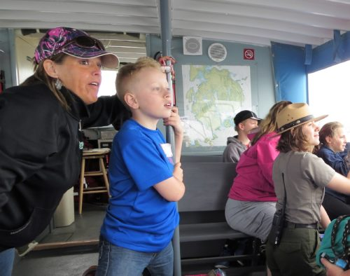 Katahdin Elementary School Students on a Yellow Bus Funded trip to Acadia.
