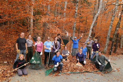 Members of the University of Maine American Fisheries Society student group worked on this section along Eagle Lake.