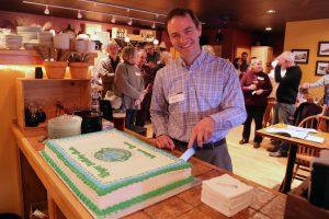 Kevin Schneider Cuts the Cake