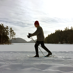 Cross-Country Skier on the Eagle Lake Carriage Road