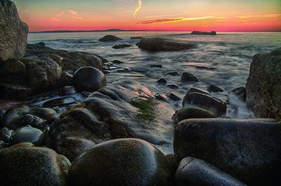 Sunrise at Cobble Beach near Otter Cliffs, Acadia NP, Mt. Desert Island, Maine