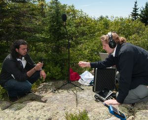 Worcester Polytechnic Institute students Mohammed Alrayas (left) and Andrew Kennedy recording the Acadia soundscape at Blue Hill Overlook on Cadillac Mountain. Credit Michele Stapleton.