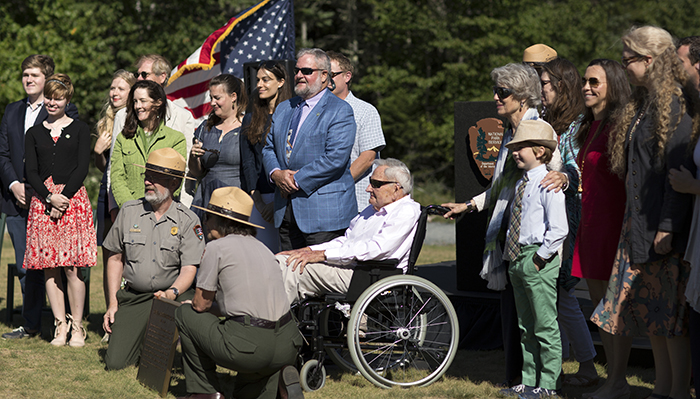 "David Rockefeller and the Rockefeller family were honored at the August 27, 2016 ""Gift of Acadia"" celebration for the Acadia National Park and National Park Service centennials"